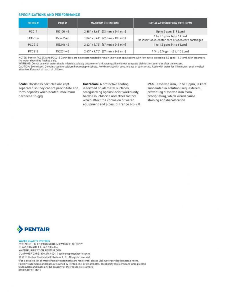 Filtro de Cristales de Fosfato Serie PCC-1